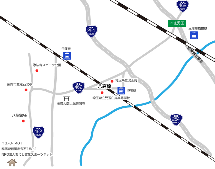 おにし文化スポーツネット本庄児玉インターからの地図